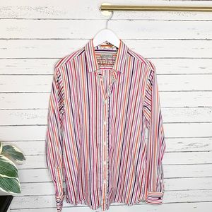 Ted Baker London Purple Red Striped Button Down